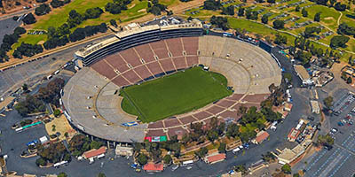 Iconic Rose Bowl stadium.